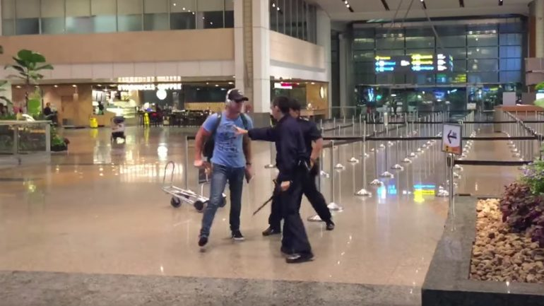 Drunken Aussie Faces Caning After Expletive Laden Scuffle With Singapore Police At Airport