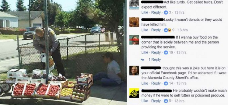 Police Try To Justify Photo of Cop Arresting Man Selling Vegetables, Facebook Owns Them