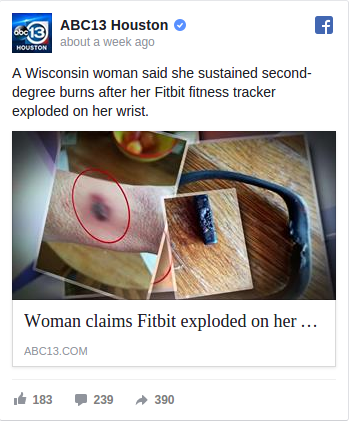 Woman Claims Her Fitbit Exploded on Her Wrist, Causing Second Degree Burns