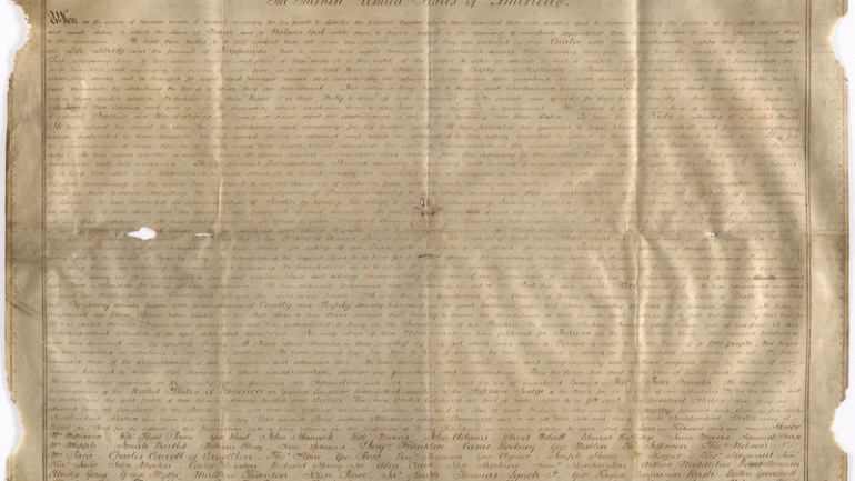 Rare & Unique Handwritten Copy of The Declaration of Independence Found in England
