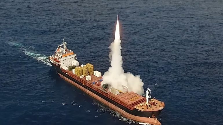 Long Range Missile That Can Fit In Shipping Container Test Fired At Sea By Israeli Contractor
