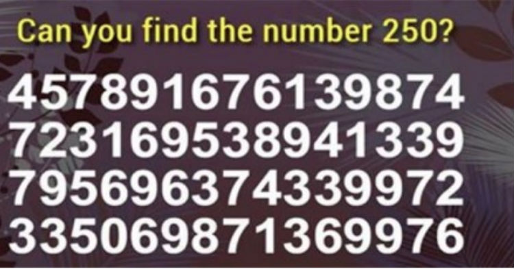 How Fast Can You Find The Number 250? The Record Is Under 2.5 Seconds. Did You Beat It?