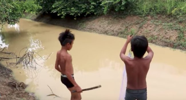 You Can't See In This Water, Which Makes What These Kids Caught Even Scarier