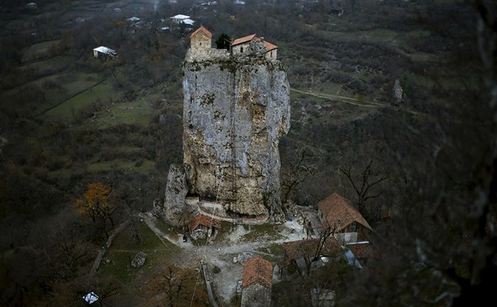 He Gave Everything Up – A Man Lives Solitary On This 130-Foot High Katskhi Pillar Rock To Be Near God