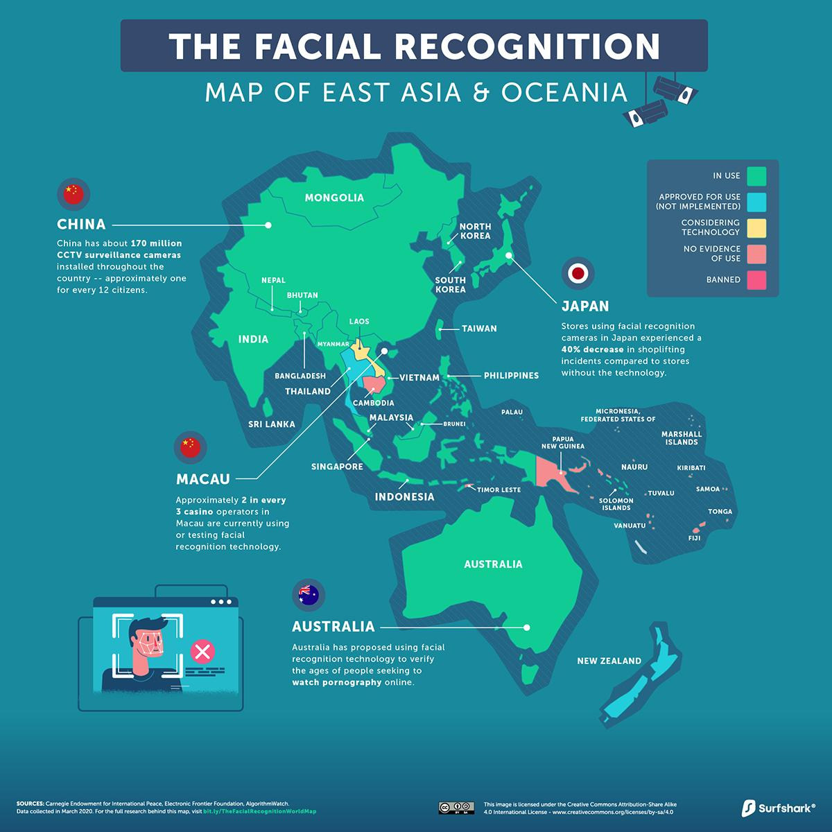 Facial-Recognition-East-Asia-Oceania-Map